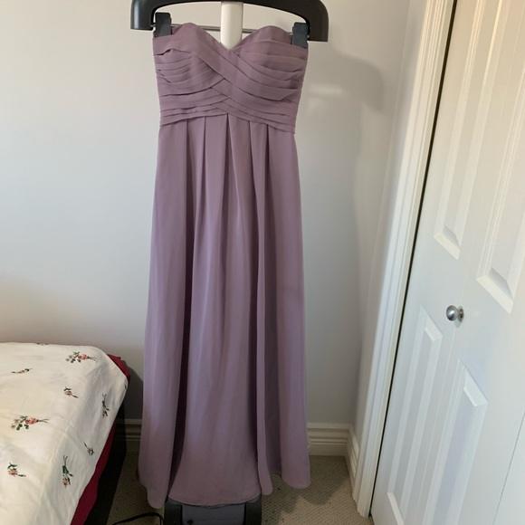 Strapless Dusty Lavender Bridesmaid Dress